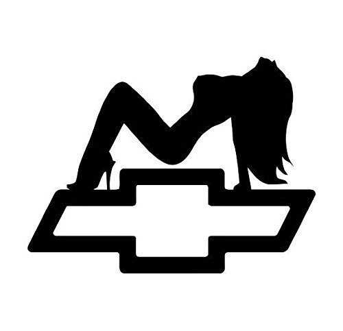 Sexy Girl Silhouette With Chevy Emblem Decal (12 Sizes, 20 Colors) 020