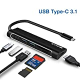 USB C Hub, Type C Hub to HDMI, 6 in 1 Combo with 2 USB 3.0 and Type C Charging Port, SD/TF Card, Multi-Function USB C to HDMI Adapter Compatible for MacBook Pro & Notebook & Tablet PC, etc (Black)
