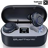 Bluephonic True Wireless Earbuds, Bluetooth 5.0 aptX HD Sound in Ear Totally Wireless Earphones, 32Hr Play Auto Pairing IPX7 Sweatproof Sport Headset, Built in Mic, Dual Speaker for Calls