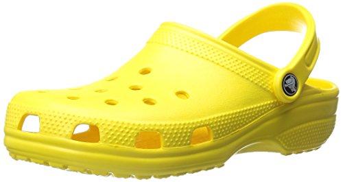 Crocs Men's and Women's Classic Clog, Comfort Slip On Casual Water Shoe, Lightweight, Lemon, 8 US Women / 6 US Men