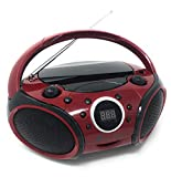 SINGING WOOD CD, CD-R/RW Player Portable/w Bluetooth AM/FM Radio Aux Input, Headset Jack, Foldable Carrying Handle (Firemist Red)