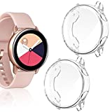 Goton Compatible Samsung Galaxy Watch Active Case, [ 2 Color Packs ] Soft TPU Shockproof Full Coverage Case Cover Bumper Protector (Clear + Clear)