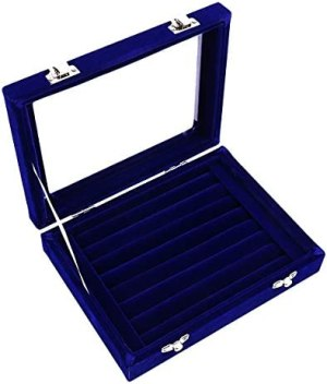 Ivosmart 7 Slots Velvet Glass Ring Jewellery Display Storage Box Tray Case Holder Earring Organizer Stand Blue