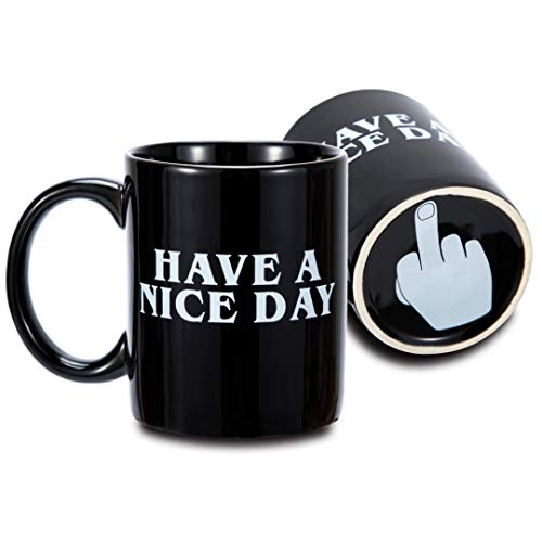 FLY SPRAY Coffee Mug Funny Cup Ceramic Have A Nice Day Middle Finger on the Bottom Porcelain Novelty Unique Creativity Drinks Cup For Juice Milk Or Tea 11 oz Black