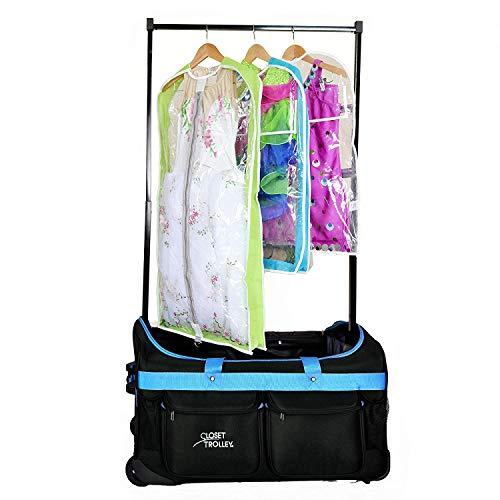 Closet Trolley Dance Bag with Garment Rack BLUE - NEW FACTORY 2ND