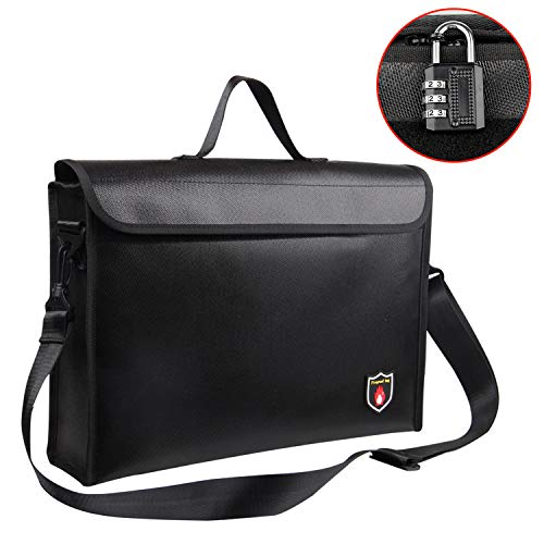 Fireproof Bag, Large 2500°F Fireproof & Waterproof Documents Bag with Lockable Zipper and Free Lock, Non-Itchy Silicone Coated Strong Double Layer Heat Protection Safe Storage for Money, Documents
