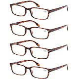 READING GLASSES 4 Pack Spring Hinge Comfort Readers Plastic Includes Sun Readers (4 Pack Tortoise, 4.50)