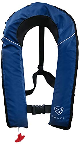 SALVS Automatic Inflatable Life Jacket for Adults   PFD for Fishing, Kayaking, Sailing   Life Vest for Men & Women   Navy Blue