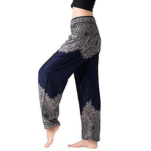 ONLY TOP Women's Smocked Waist Harem Hippie Boho Yoga Palazzo Casual Pants Dark Blue