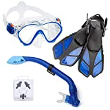 ELEMENTEX Snorkel Set Gear for Kids Includes Scuba Mask, Diving Trek Fins and Easy-Breath Dry Top Valve | Improved Tempered Glass on Snorkeling Mask w/Free Ear Plugs, Nose Clip, and Carrying Bag