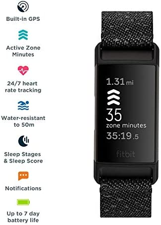 Fitbit Charge 4 Special Edition Fitness and Activity Tracker with Built-in GPS, Heart Rate, Sleep & Swim Tracking, Black/Granite Reflective, One Size (S &L Bands Included) 4