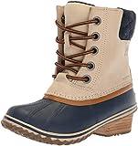 SOREL Women's Slimpack Lace II Snow Boot, Oatmeal, Collegiate Navy, 8.5 M US