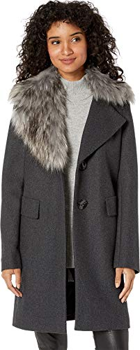Sam Edelman Women's Asymmetrical Faux Fur Walker Coat Grey 4