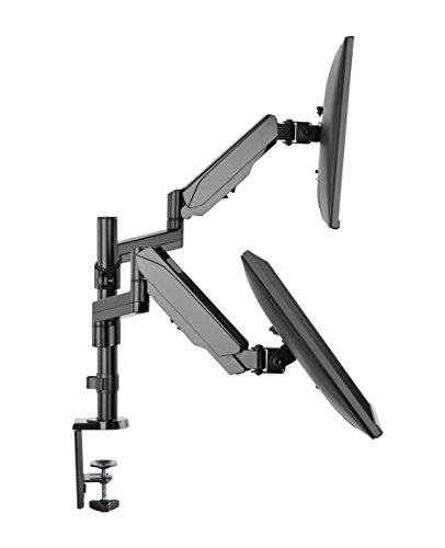 TechOrbits Dual Monitor Stand - Dual Computer Screen Arms - C Clamp on Desk Monitor Riser - Full Motion Swivel Articulating Gas Springs - Universal Fit for 17' - 32' 180° Rotation Vesa Mount