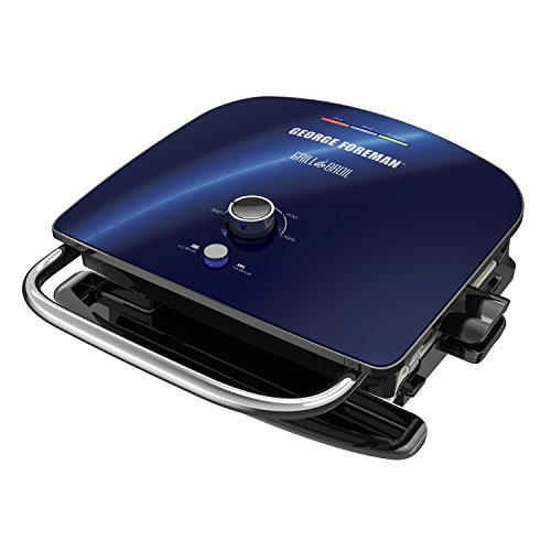 George Foreman GBR5750SCBQ Broil 7-in-1 Electric Indoor Grill, Broiler, Panini Press, and Waffle Maker, Removable Plates, Blue