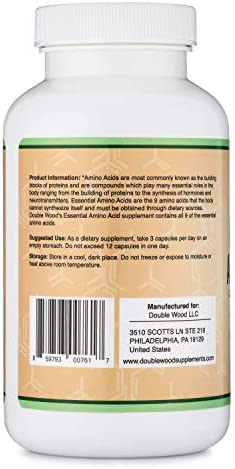 Essential Amino Acids - 1 Gram Per Serving Powder Blend of All 9 Essential Aminos (EAA) and all Branched-Chain Aminos (BCAAs) (Leucine, Isoleucine, Valine) 225 Capsules by Double Wood Supplements 5