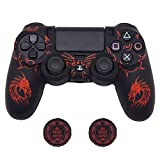 PS4 Controller Skin, BRHE DualShock 4 Grip Anti-Slip Silicone Cover Protector Case for Sony Playstation 4/PS4 Slim/PS4 Pro Wireless/Wired Gamepad Controller with 2 Thumb Grips (Red)