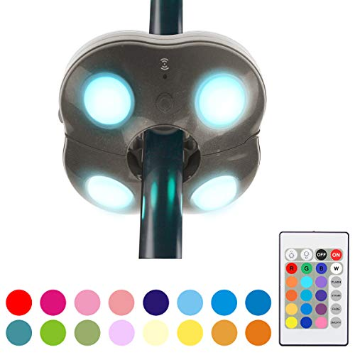 HONWELL Patio Umbrella Light Outdoor Wireless Battery Operated and Remote Control LED Umbrella Lights, 16 Color Changing Umbrella Pole Light, Camping Lights for Umbrellas (Brown) 1Pack