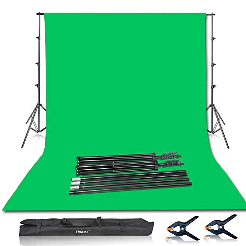 Emart-Photo-Video-Studio-85-x-10ft-Green-Screen-Backdrop-Stand-Kit-Photography-Background-Support-System-with-10-x12ft-100-Cotton-Muslin-Chromakey-Backdrop