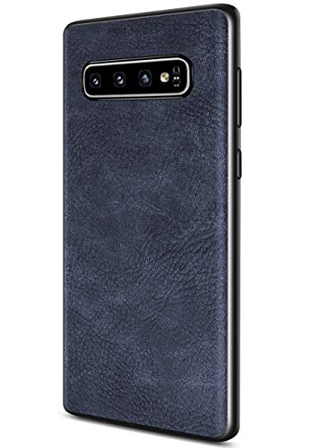 Samsung Galaxy S10 Plus Case, Salawat Slim PU Leather Vintage Shockproof Phone Case Cover Lightweight Premium Soft TPU Bumper Hard PC Hybrid Protective Case for Samsung Galaxy S10 Plus (Blue)