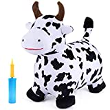iPlay, iLearn Cow Hopping Horse, Outdoors Ride On Bouncy Animal Play Toys, Inflatable Hopper Plush Covered with Pump, Activities Gift for 2, 3, 4, 5 Year Old Kids Toddlers Boys Girls