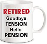 Hello Pension Goodbye Tension Office Humor Funny Retirement Gifts Coffee Mug for Men Women Boss Coworker Novelty Gift Ideas for Retiring Husband Wife Mom Dad Senior Men Fun Cup For Christmas Birthday