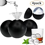 g0g0g0 B07V1M493L Whiskey Maker 4 Pack Silicone Round Cube Molds,Makes 2 inch Ice Balls (Black), one size,