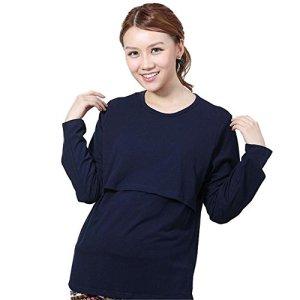 Pregnancy - Pregnant-T-Shirt-Kaifongfu-Long-sleeve-Maternity-Clothes-Nursing-Tops-Breastfeeding-Vest-T-Shirt-L-Navy