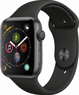 Apple Watch Series 4 (GPS only) Aluminum Case Compatible with iPhone 5s and Above (Space Gray Aluminum case with Black Sport Band, 44mm)