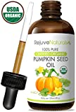 Organic Pumpkin Seed Oil (4oz) USDA Certified Organic, 100% Pure, Cold Pressed. Boost Hair Growth for Eyelashes, Eyebrows & Hair. Overactive Bladder Control for Men & Women. Skin Moisturizer