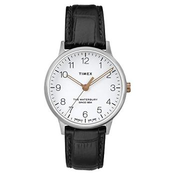 Timex Women's Waterbury Classic 36mm Leather Strap Watch TW2R72400VQ (One Size, Stainless-Steel/Black/White)