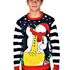 KESIS Romantic Drunk Snowman Ugly Christmas Pullover Sweater XL Navy Blue