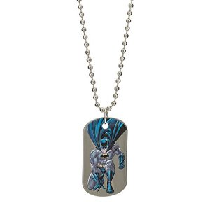 DC Comics Batman Jewelry for Men and Boys, Stainless Steel Illustrated Dog Tag Pendant, 16″ Ball Chain