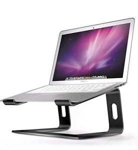 Aluminum Laptop Stand for Desk Compatible with Mac MacBook Pro/Air Apple 12' 13' Notebook, Portable Holder Ergonomic Elevator Metal Riser for 10 to 15.6 inch PC Desktop Computer, Soundance LS1 Black