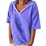 Zlolia Women's Feather Print Hoodie Half Sleeve V-Neck Solid Color Pullover Summer Fashion Casual Loose Top Blouses Blue