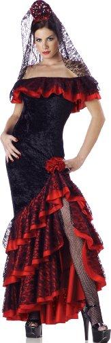 InCharacter Costumes Women's Senorita Costume, Black/Red, Small