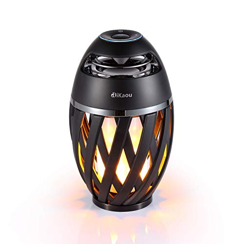 DIKAOU Led flame table lamp, Torch atmosphere Bluetooth speakers&Outdoor Portable Stereo Speaker with HD Audio and Enhanced Bass,LED flickers warm yellow lights BT4.2 for iPhone/iPad /Android