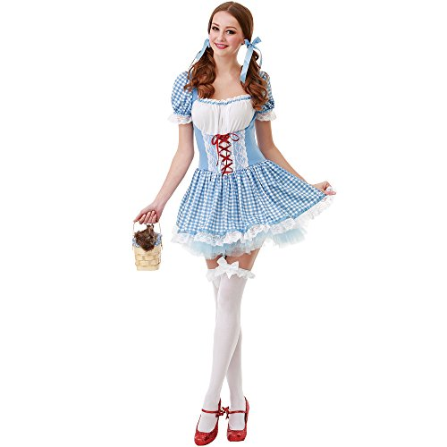 kansas belle womens halloween costume sexy dorothy of oz blue checkered dress