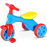 Costzon Toddler Tricycle Walker Baby Balance Tricycle with Foot Pedals, BB Sound and Storage Box, Baby Tricycle Bike for Kids Baby Infant Age 18 to 36 Months Indoor Outdoor (Blue)