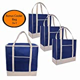 Reusable Grocery Bags Tote heavy duty plus cooler| Set of 4 | Insulated| Produce |Holder| Shopping Bags|Thermal|Food Delivery|Long Reinforced Handles | Pockets |Pouch|Foldable|Eco|Green