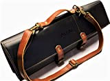 MiM Houston Chef Knife Roll - Leather Knife Bag - Stylish Knife Case With Adjustable Shoulder Strap - Natural Leather - Handmade