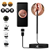 Ear Otoscope, USB Ear Cleaning Endoscope CAFELE Digital Ear Scope Inspection Camera with 6 Adjustable LEDs for Micro USB & USB-C Android Devices, Windows & MAC PC Computer