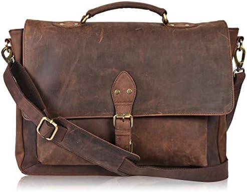 Leather Messenger Bag Locking Laptop Briefcase For Men Adjustable Satchel Handle