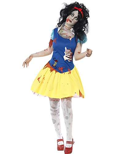 Smiffy's Women's Zombie Snow Fright Costume, Dress with Latex Chest and Headband, Zombie Alley, Halloween, Size 6-8, 23352