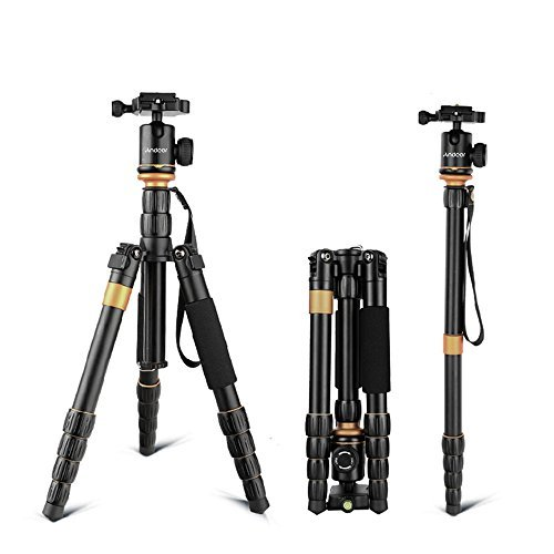 Andoer DSLR Camera Tripod,52inch/ 132cm Aluminum Tripod Monopod with 360° Ball Head and 1/4' Quick Release Plate for Canon Nikon Sony