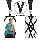 2 in 1 Cell Phone Lanyard Rocontrip Strap Case Holder with Detachable Neckstrap Universal for Smartphone iPhone 8,7 6S iPhone 6S Plus,Samsung Galaxy Google Pixel 4.7-5.5 inch (Black)