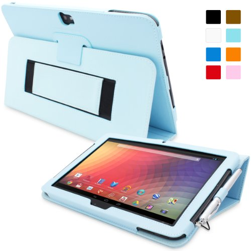 Nexus 10 Case, Snugg - Baby Blue Leather Smart Case Cover Google Nexus 10 Protective Flip Stand Cover with Auto Wake/Sleep