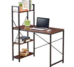 GreenForest Computer Desk with Shelves 4 Tier Industrial Style Workstation with Bookshelves Writing Study Table for Home and Office Walnut