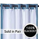 Rose Home Fashion RHF Thermal Insulated Blackout Curtain Liner Panel-Ring Included- Curtain Liner 100% Darkening,Blackout Liner for 84 inch Curtains:50'x80' 2pieces-Ring