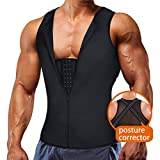 Underwear Men Shirt Tight Tank with Top Upper Back Support Brace Tummy Trimmer Body Shaper Slim Vest (Black with Hook, 3XL)